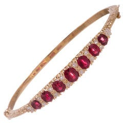 English Carved Style Ruby Diamond Gold Bangle Bracelet