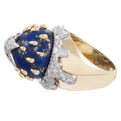 Lapis Diamond Galaxy Dome Ring