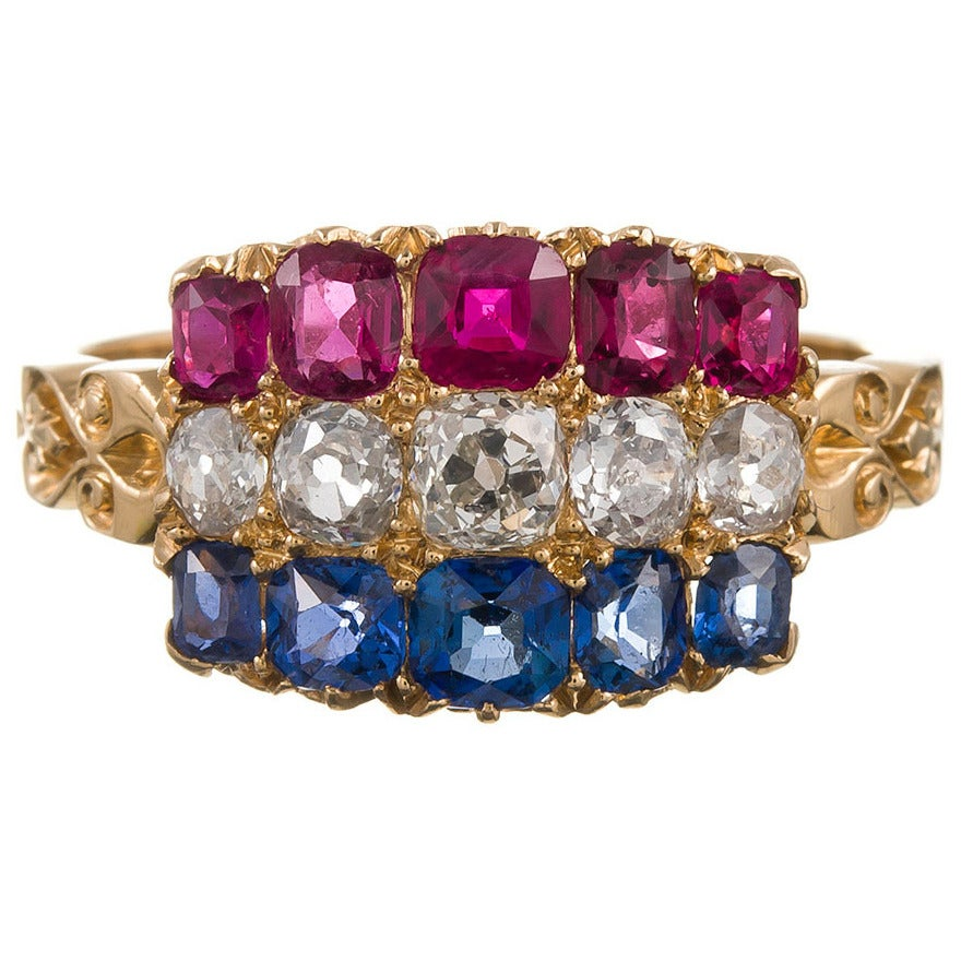Antique Americana Sapphire Ruby Diamond Gold Cluster Ring For Sale