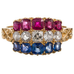 Antique Americana Sapphire Ruby Diamond Gold Cluster Ring