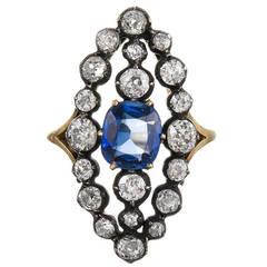 Victorian Sapphire Diamond Plaque Ring