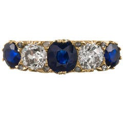 Perfect Victorian Sapphire Diamond Carved Gold Mount Engagement Ring