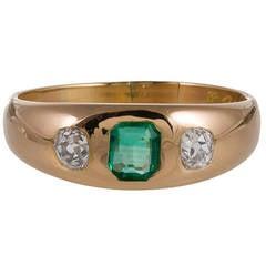 Late Victorian Emerald Diamond Gold Gypsy Ring