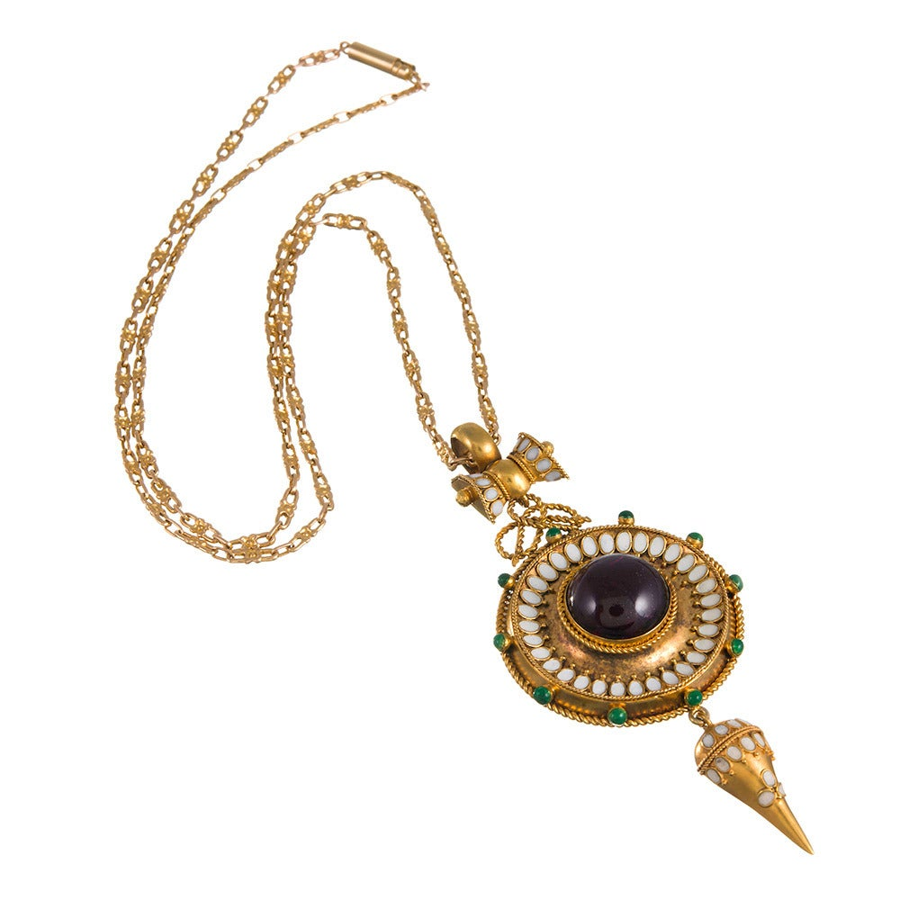 Victorian Enamel Garnet Gold Etruscan Revival Locket Pendant In Excellent Condition For Sale In Carmel-by-the-Sea, CA