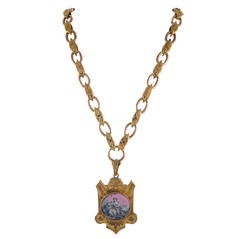 "English Victorian ""Lover of Animals"" Two Color Gold Miniature Picture Locket"