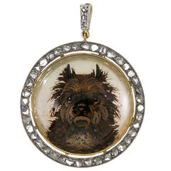 """Naughty Terrier"" Reverse Carved Crystal Diamond Silver Gold Pendant"