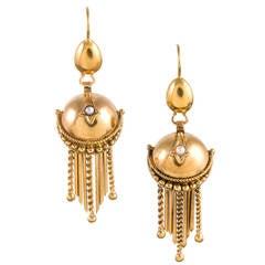 Victorian Golden Orb Fringe Drop Earrings