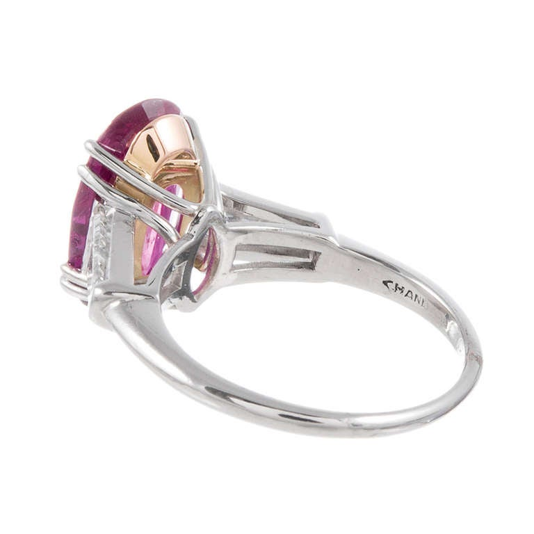 Baguette Cut 3.94 Carat Ruby and Baguette Diamond Ring, circa 1950 For Sale