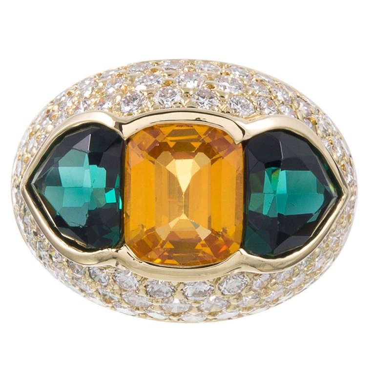 Yellow Sapphire, Green Tourmaline and Diamond Dome Ring