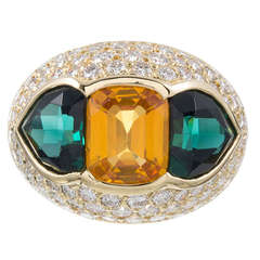 Yellow Sapphire, Green Tourmaline and Diamond Dome Ring