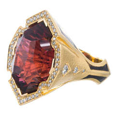 38 Carat Red Tourmaline Enamel Diamond Ring Signed Neiman Marcus