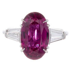 3.94 Carat Ruby and Baguette Diamond Ring, circa 1950