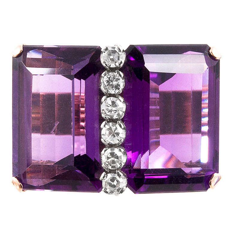 Double Amethyst Retro Ring with Diamonds