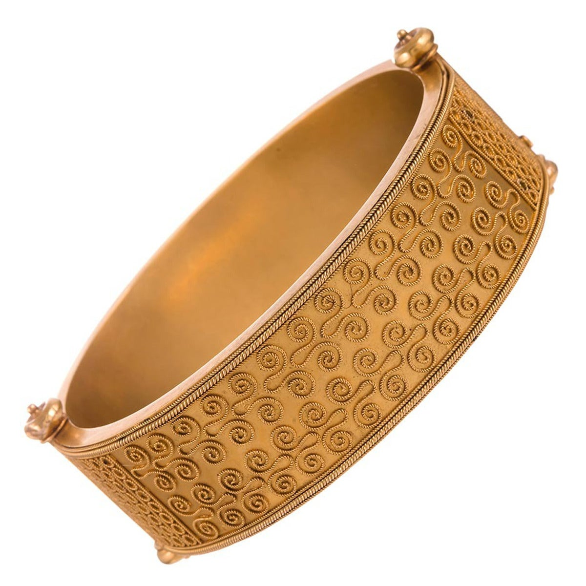Victorian Stunning Etruscan Revival Double-Sided Bangle Bracelet