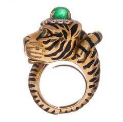 David Webb Enamel Emerald  Diamond Tiger Ring