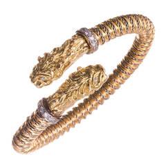 Diamond Gold Tiger Motif Flex Bangle Bracelet