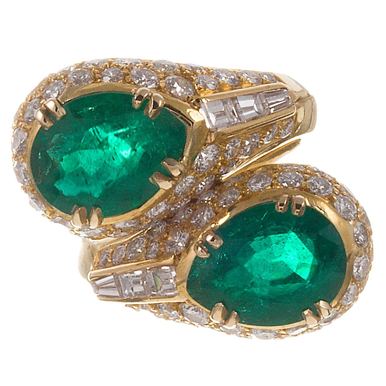 magnificent bulgari pear shape emerald ring at 1stdibs