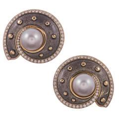 "DeVroomen Pearl Diamond Gold ""Nautilus"" Earrings"