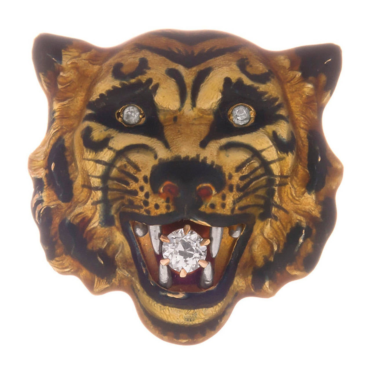 Antique Enamel Diamond Gold Tiger Pin For Sale