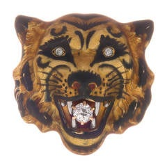 Antique Enamel Diamond Gold Tiger Pin
