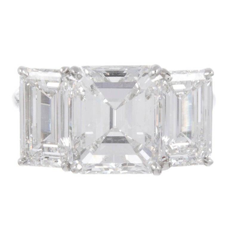 Important 6 89 Carat Three Stone Emerald Cut Diamond Ring at 1stdibs