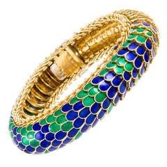 1960s Serpentine Enamel Gold Scales Bracelet