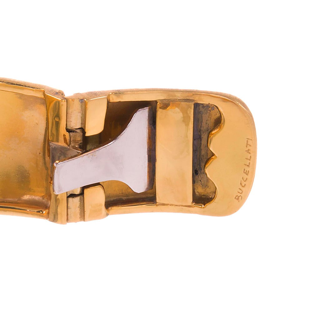 Buccellati Diamond Cluster Cuff Bracelet In Excellent Condition For Sale In Carmel-by-the-Sea, CA