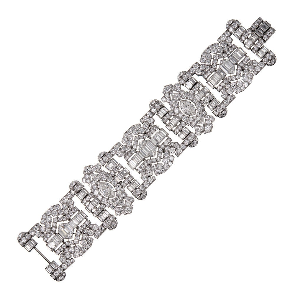"""The most beautiful art deco diamond bracelet I have ever seen"" says every person who views this stunning masterpiece in person. Crafted with precision, inspiration and masterful skill, this impeccable important creation combines mixed shapes of"