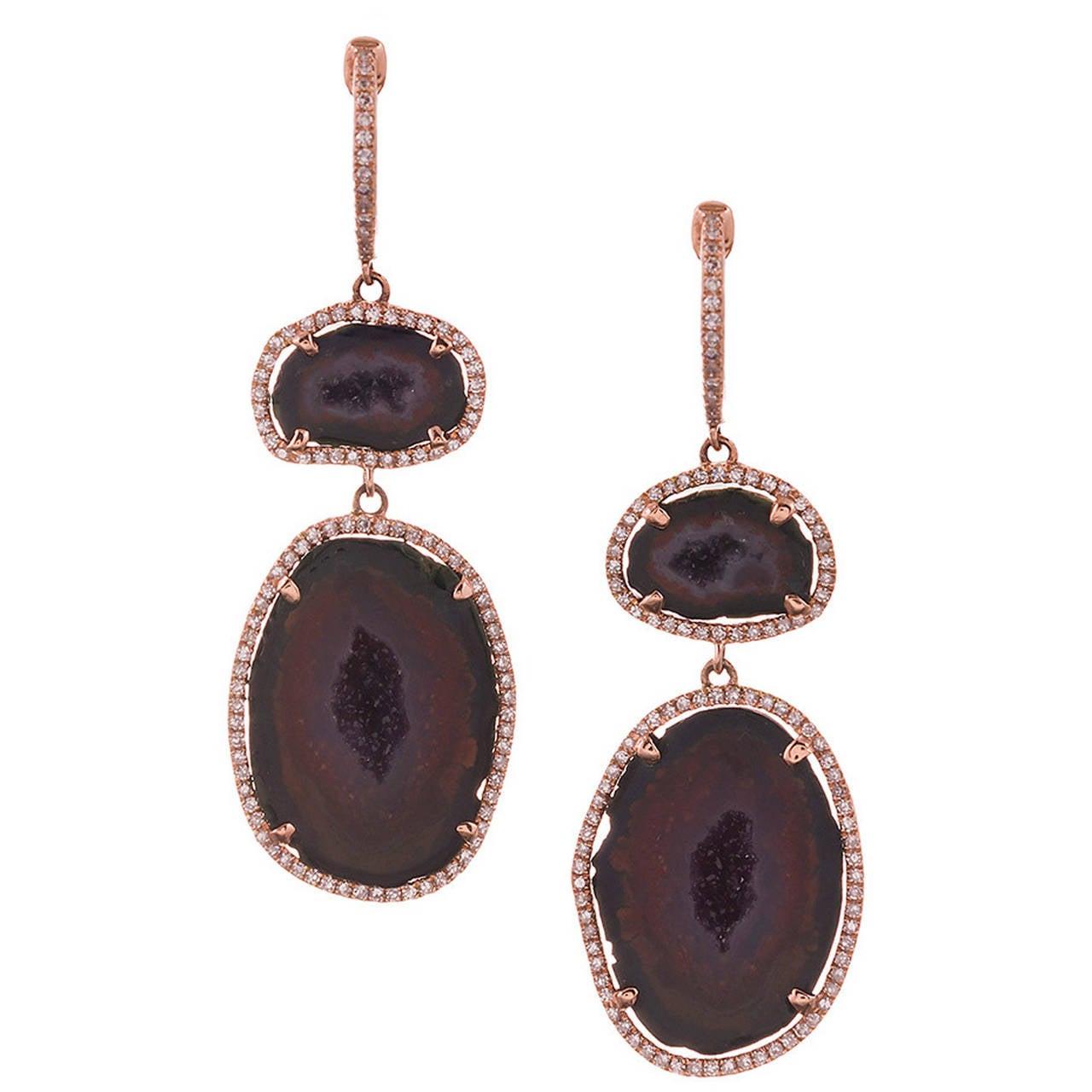 Geode Diamond Gold Drop Earrings For Sale