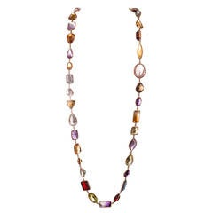 36 Inch Strand of Large Faceted Colored Gemstones 500 Carats