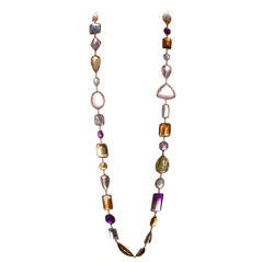 36 Inch 500 Carats Strand of Large Faceted Colored Gemstones