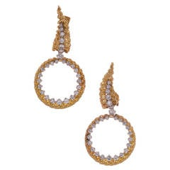 Tiffany & Co. Detachable Diamond Gold Hoop Earrings
