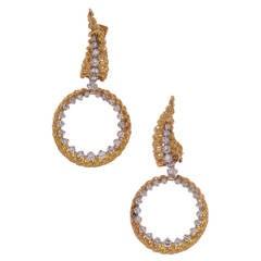Tiffany & Co. Detachable Diamond Gold Hoop Earrings