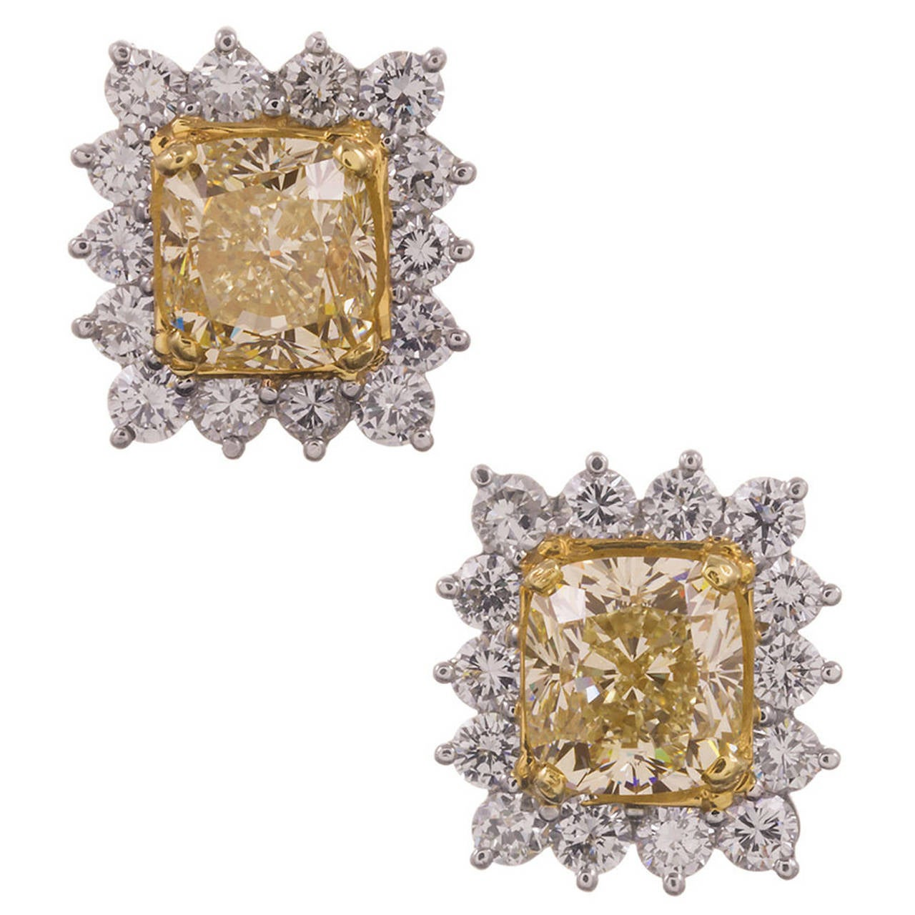 6.10 Carat Fancy Yellow Diamond Gold Platinum Cluster Earrings
