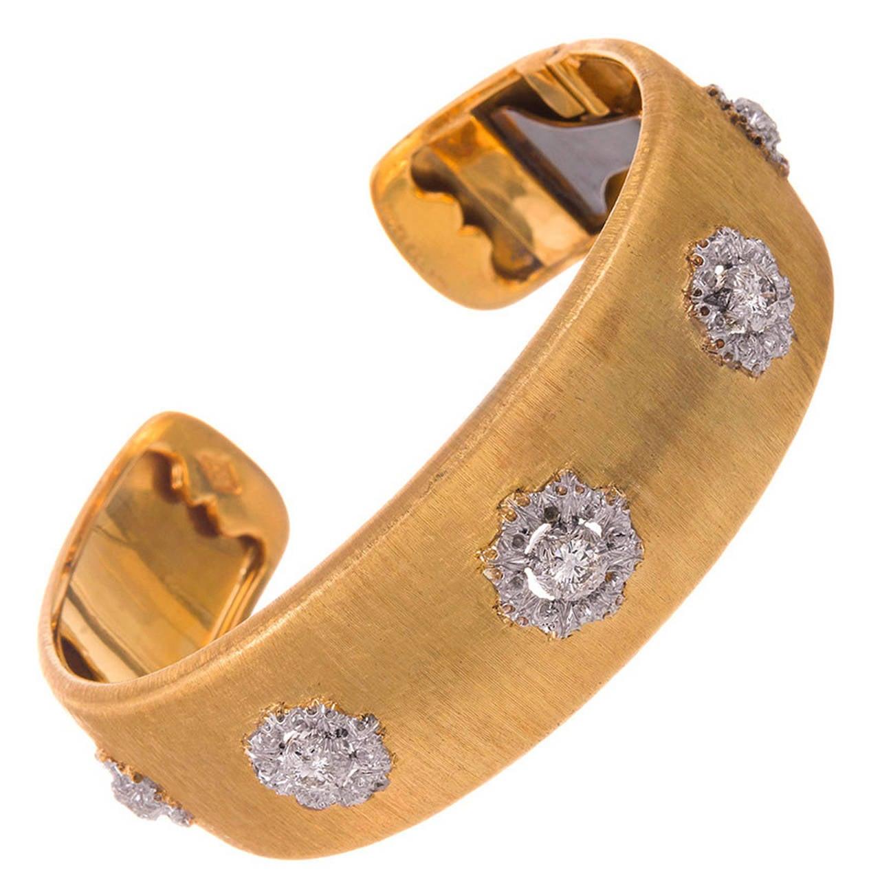 Buccellati Diamond Cluster Cuff Bracelet