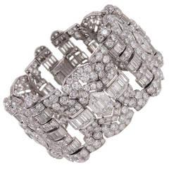 Breathtaking Art Deco 55 Carat Diamond Platinum Bracelet