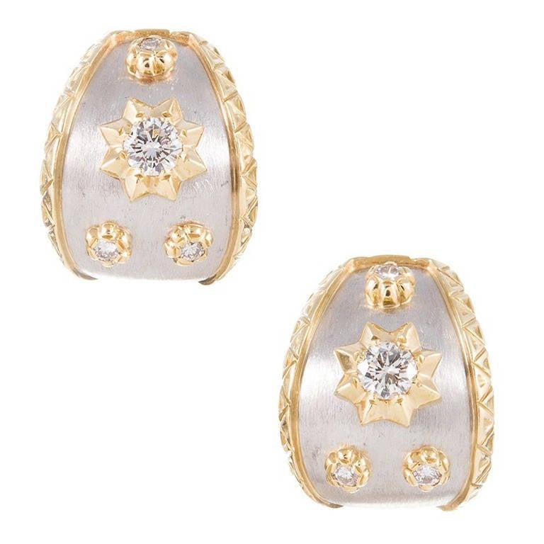 Textured Diamond Gold Platinum Ear Hoops