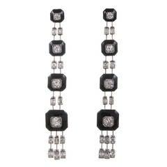 Art Deco Stacked Onyx Diamond Platinum Fringe Earrings