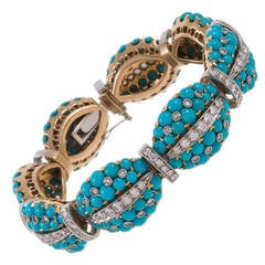 Mid-Century Turquoise and Diamond Bracelet