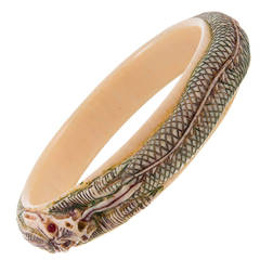 1920s Carved Bone Dragon Motif Bangle Bracelet