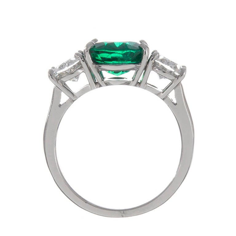 3 01 carat oval emerald three ring at 1stdibs