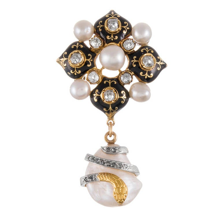 French Victorian Enamel Natural Pearl Diamond yellow gold Brooch