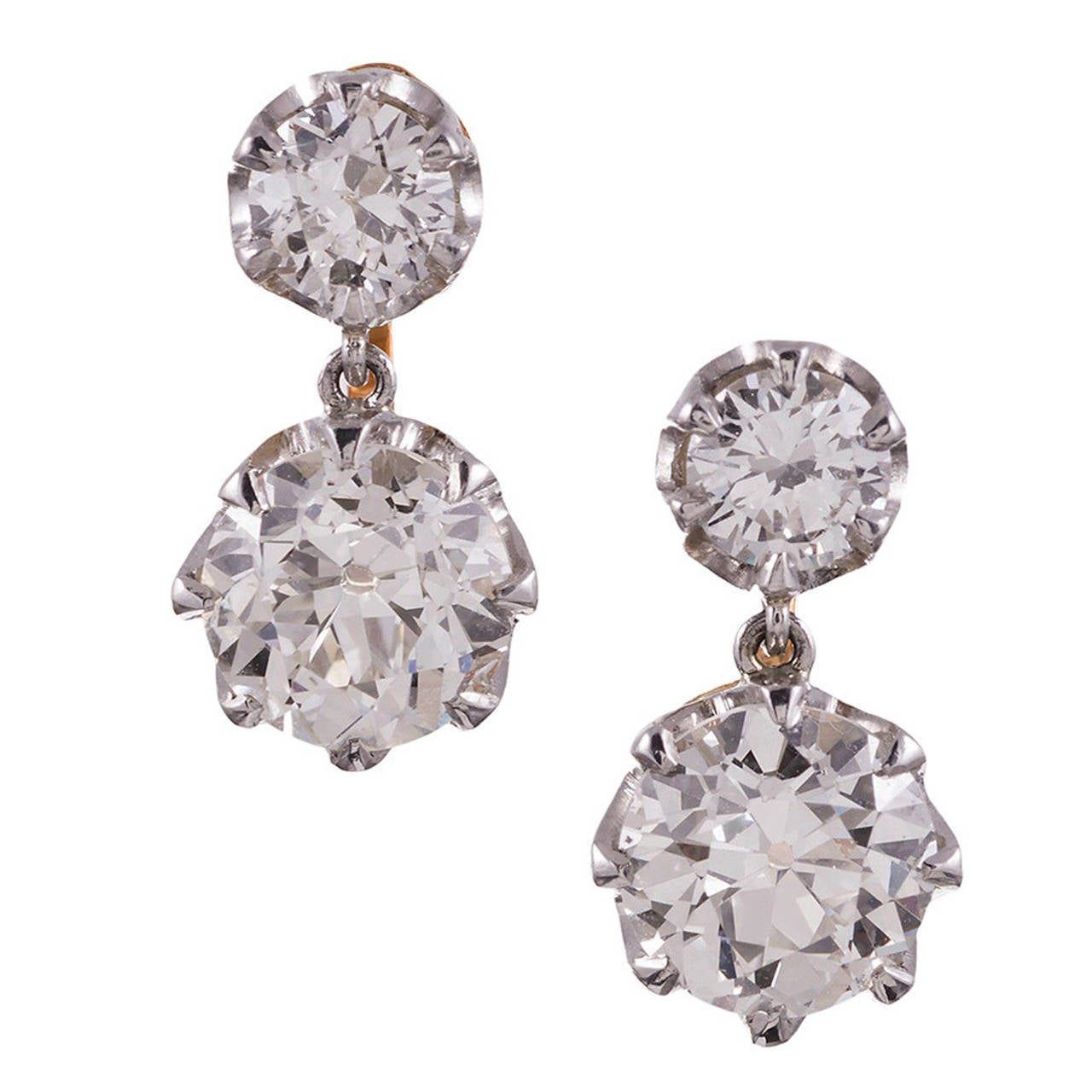 2 63 Carat Old European Cut Double Diamond Drop Earrings For