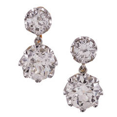 2.63 Carat Old European Cut Double Diamond Drop Earrings