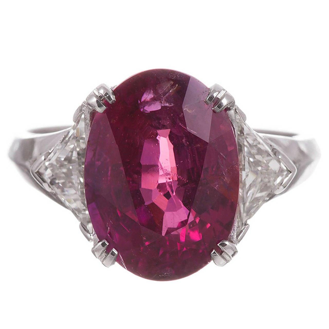 "6.77 Carat ""No Heat"" Ruby Diamond Ring"