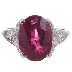 "6.77 Carat ""No Heat"" Ruby Diamond Ring"