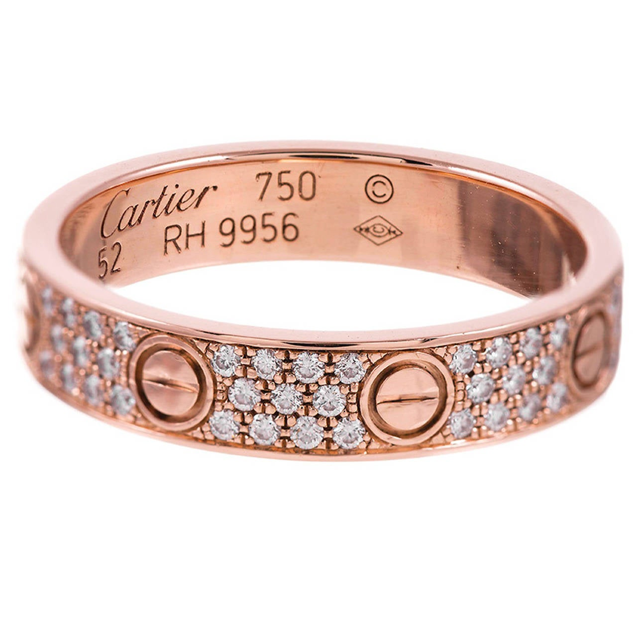 Cartier Rose Gold Pave Diamond Love Ring At 1stdibs