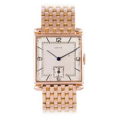 Cartier Rose Gold Tank Obus Wristwatch with Bracelet circa 1940s