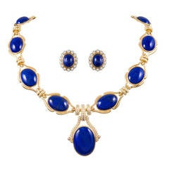 Lapis Diamond Necklace and Earrings Suite