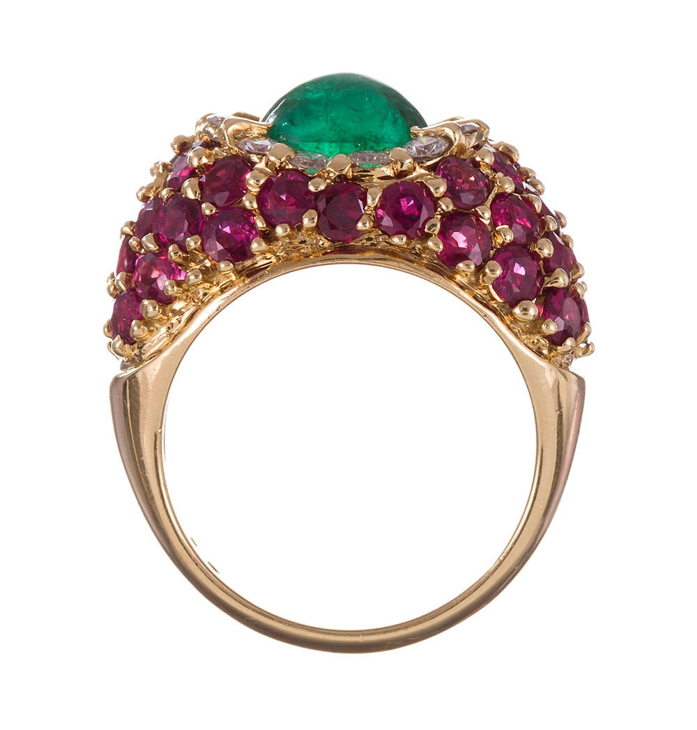 Women's Hammerman Bros. 1.20 Carat Cabochon Emerald Ruby Diamond Gold Ring For Sale